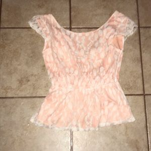Lace coral bow shirt